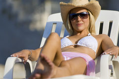 Sun Bathing Beauty Stock Images