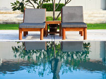 Sun-bathing chairs in resort, Huahin Thailand Stock Photos