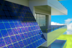 Sun  battery. Solar cell  battery on house wall Stock Image