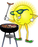 Sun_BBQ. Raster cartoon graphic depicting a Summer outdoor activity (Barbecue Stock Image