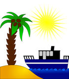 On the sun beach. With coco-palm and ship Stock Photo