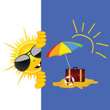 Sun and beach art vector illustration Royalty Free Stock Image
