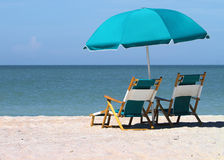Sun beach chairs Royalty Free Stock Photography