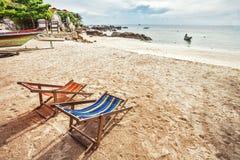 Sun beach chairs at the beach Royalty Free Stock Photo