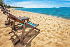 Sun beach chairs at the beach Royalty Free Stock Image