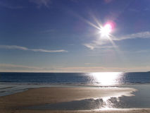 Sun, beach and ocean at Gerrans Bay, Cornwall, United Kingdom stock photography