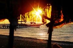 Sun on beach at sunday Stock Image
