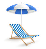 Sun beach umbrella with beach chair  on white Stock Photo