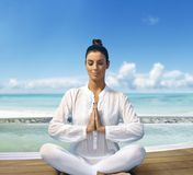 Sun beach and yoga Stock Photos