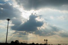 Sun beam on the cloud.  Royalty Free Stock Images