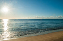 Sun beam in the morning  at the beach Stock Photography