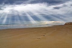 Sun Beam Over The Beach Stock Image