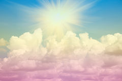 Sun beam and sky-clouds. Background,pastel style Royalty Free Stock Photo