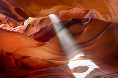 Sun beam in Slot Canyon Stock Images
