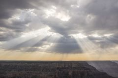 Sun beams in the Canyon stock photography