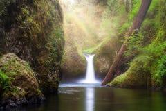 Sun Beams Over Punch Bowl Falls. Sun ray beams over Punch Bowl Falls waterfall along Eagle Creek at Columbia River Gorge in Oregon stock photos