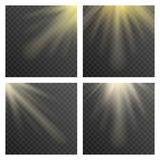 Sun beams or rays on transparent checkered background vector illustration Royalty Free Stock Image