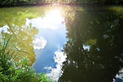 Sun beams reflecting on pond surface Royalty Free Stock Photography