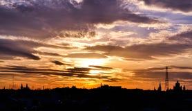 Sun. Beautiful sunset in beautiful city Royalty Free Stock Photo
