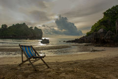 Sun bed on the beach in Bang Saphan,Thailand Royalty Free Stock Images