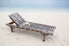 sun bed with sun hat Stock Photography