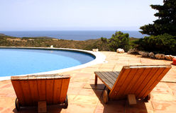 Sun bed Terrace swimming pool Stock Photo