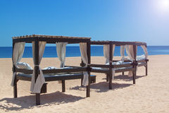 Sun beds on the coast of Portugal. Stock Photography