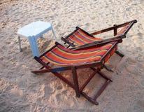 Sun beds. At sand beach Royalty Free Stock Photos