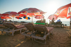 Sun beds with umbrellas Royalty Free Stock Photos