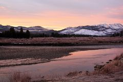 A beautiful Sunrise in Yellowstone National Park royalty free stock photo