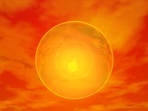 Sun behind bubble - 3D render Stock Photos