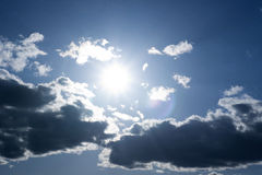 Sun behind the clouds. The sun shining behind the clouds Royalty Free Stock Photo
