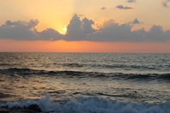 Clouds at Sunset at Sea Royalty Free Stock Images
