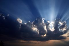 Sun behind dark clouds Royalty Free Stock Images