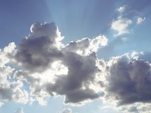 Sun behing clouds during partly cloudy day Stock Images