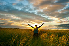 Sun beind the man Royalty Free Stock Image
