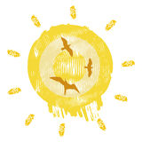 Sun with bird Royalty Free Stock Photography