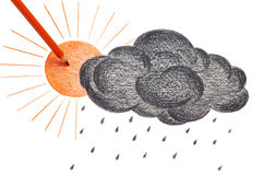 Sun and black cloud. Drawing sun and black cloud Stock Photos
