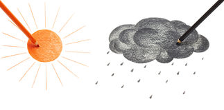 Sun and black cloud. Drawing sun and black cloud Royalty Free Stock Photo