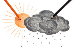 Sun and black cloud. Drawing sun and black cloud Stock Image