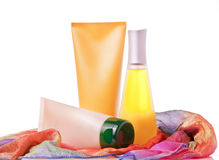 Sun blocking cream, lotion and toner for summer ca. Re on a white background Stock Photo