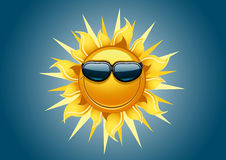Sun on blue background. With glasses Vector Illustration