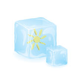 Sun in blue ice. Red sun in blue ice cube Stock Photo