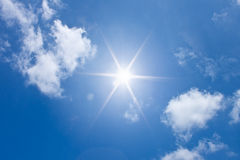 Sun in blue sky royalty free stock photography