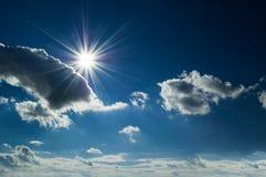The sun on blue sky. Stock Photo