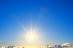 Sun in the blue sky Stock Photography