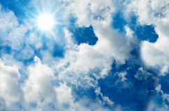 Sun in the blue sky Royalty Free Stock Images