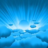 Sun and blue sky with beautiful clouds. EPS 8 Stock Photography