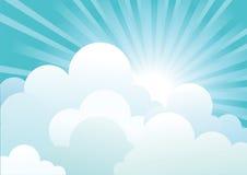 Sun and blue sky with beautifull clouds Stock Photos