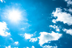 Sun in the blue sky. Bright clear blue  sky cloud with sun shine and flare Royalty Free Stock Image